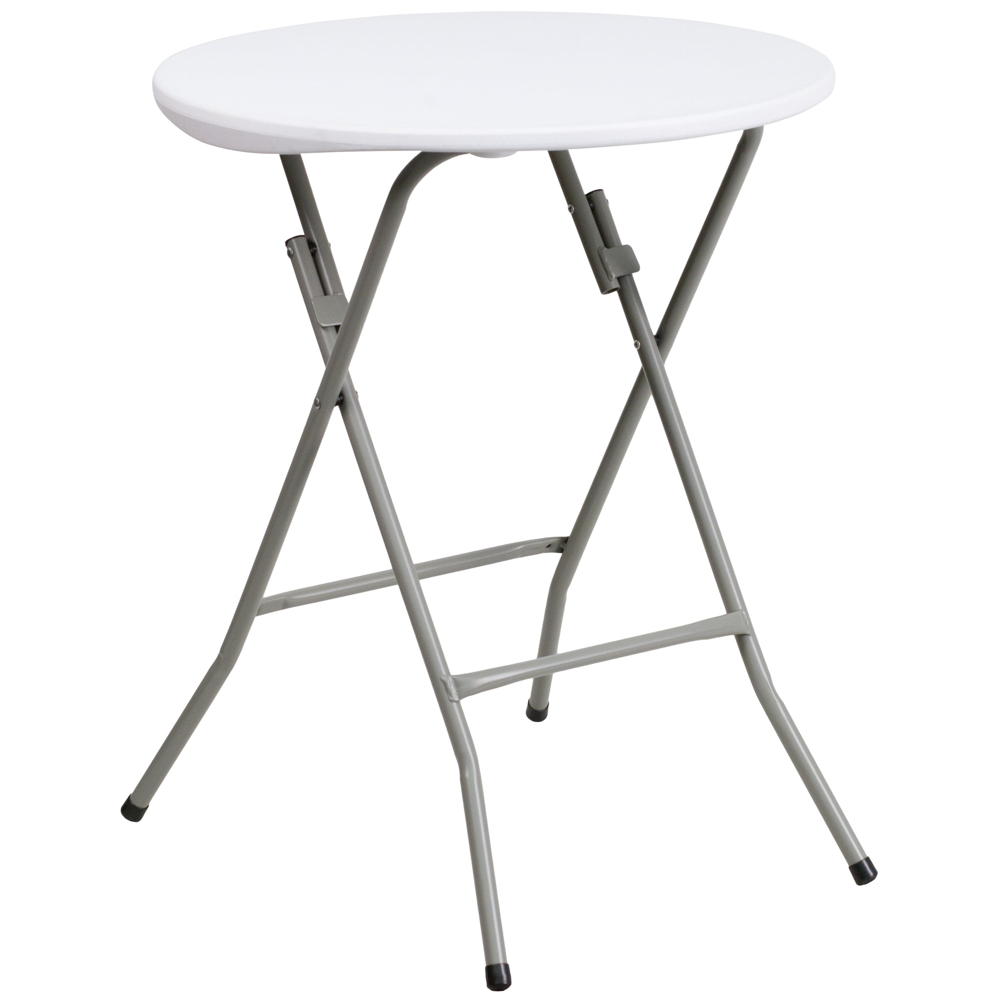 24'' Round Granite Plastic Folding Table: Granite White