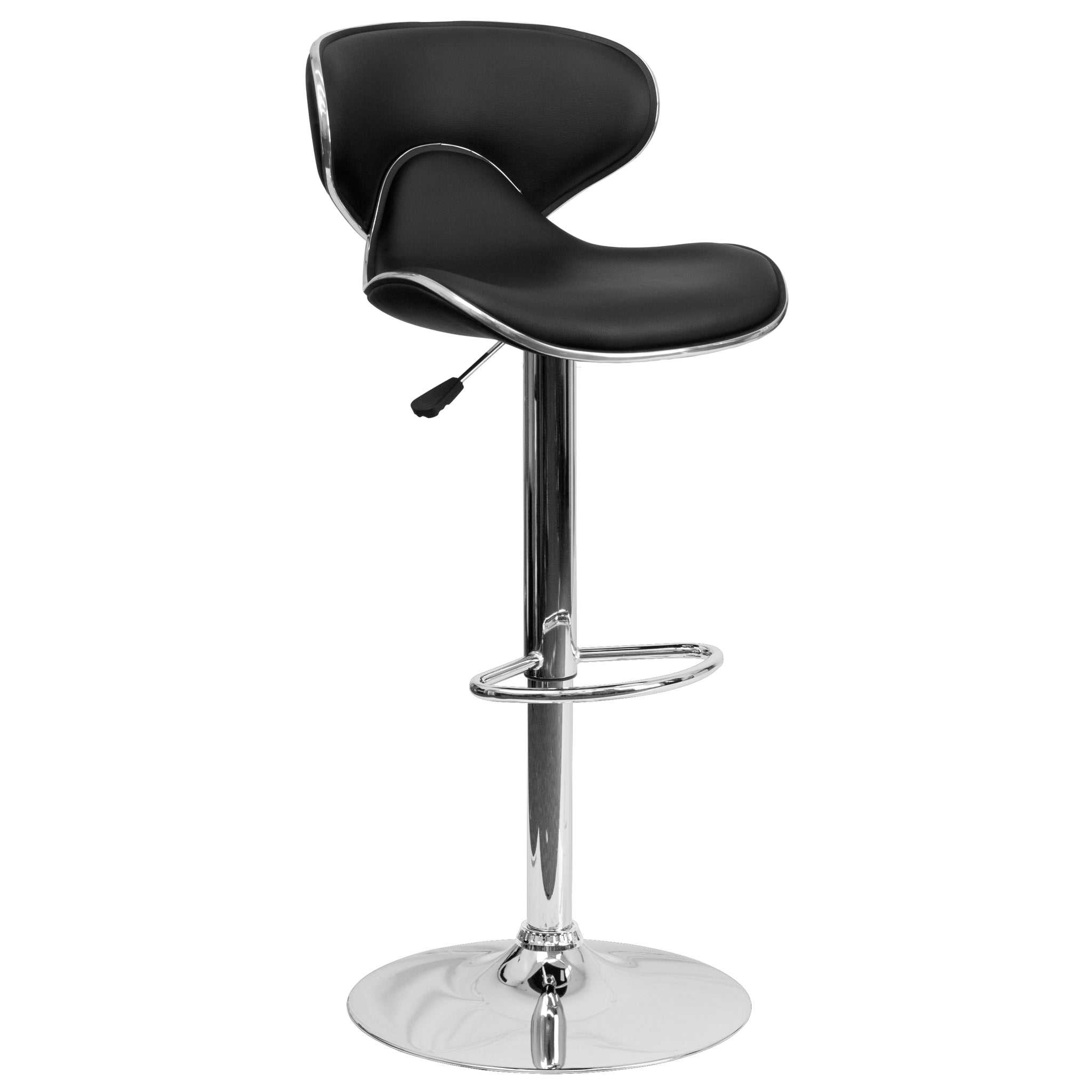 Contemporary Cozy Mid-Back Vinyl Adjustable Height Barstool with Chrome Base: Black