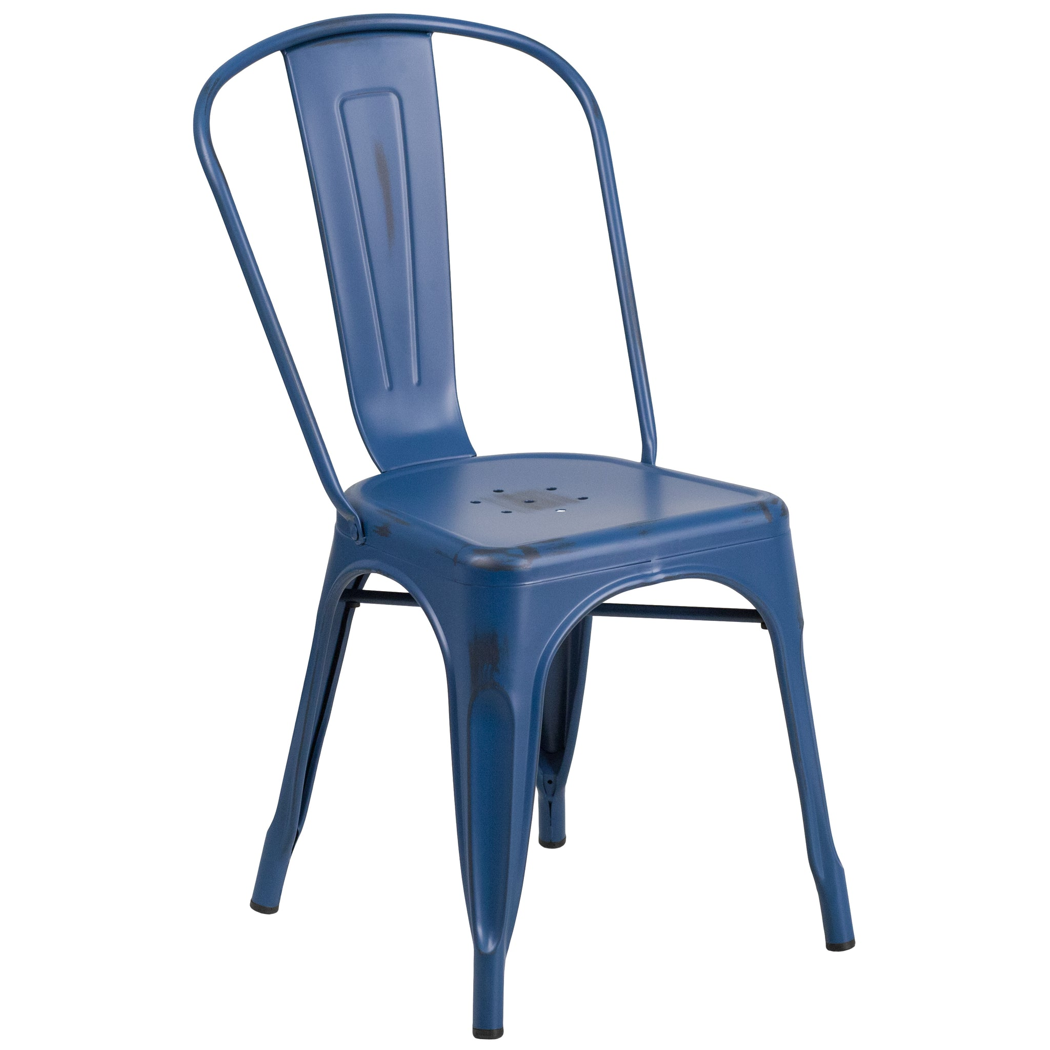 Distressed Metal Indoor-Outdoor Stackable Chair: Antique Blue