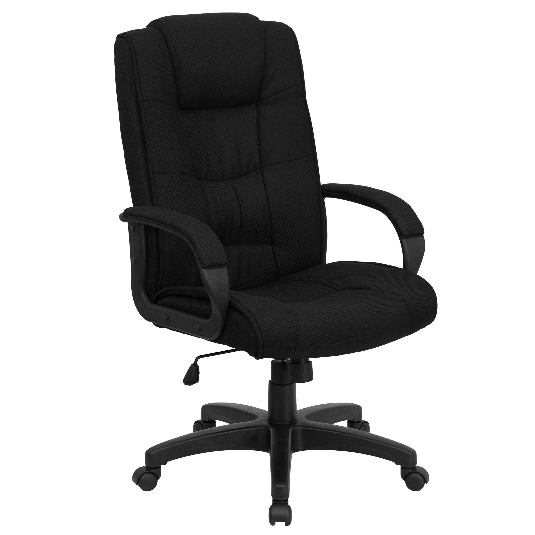 High Back Executive Swivel Office Chair: Black Fabric