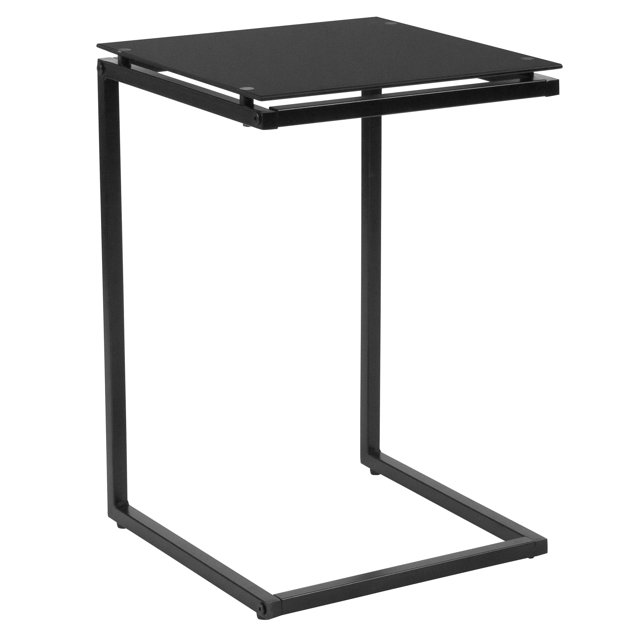 Burbank End Table with Metal Frame: Black
