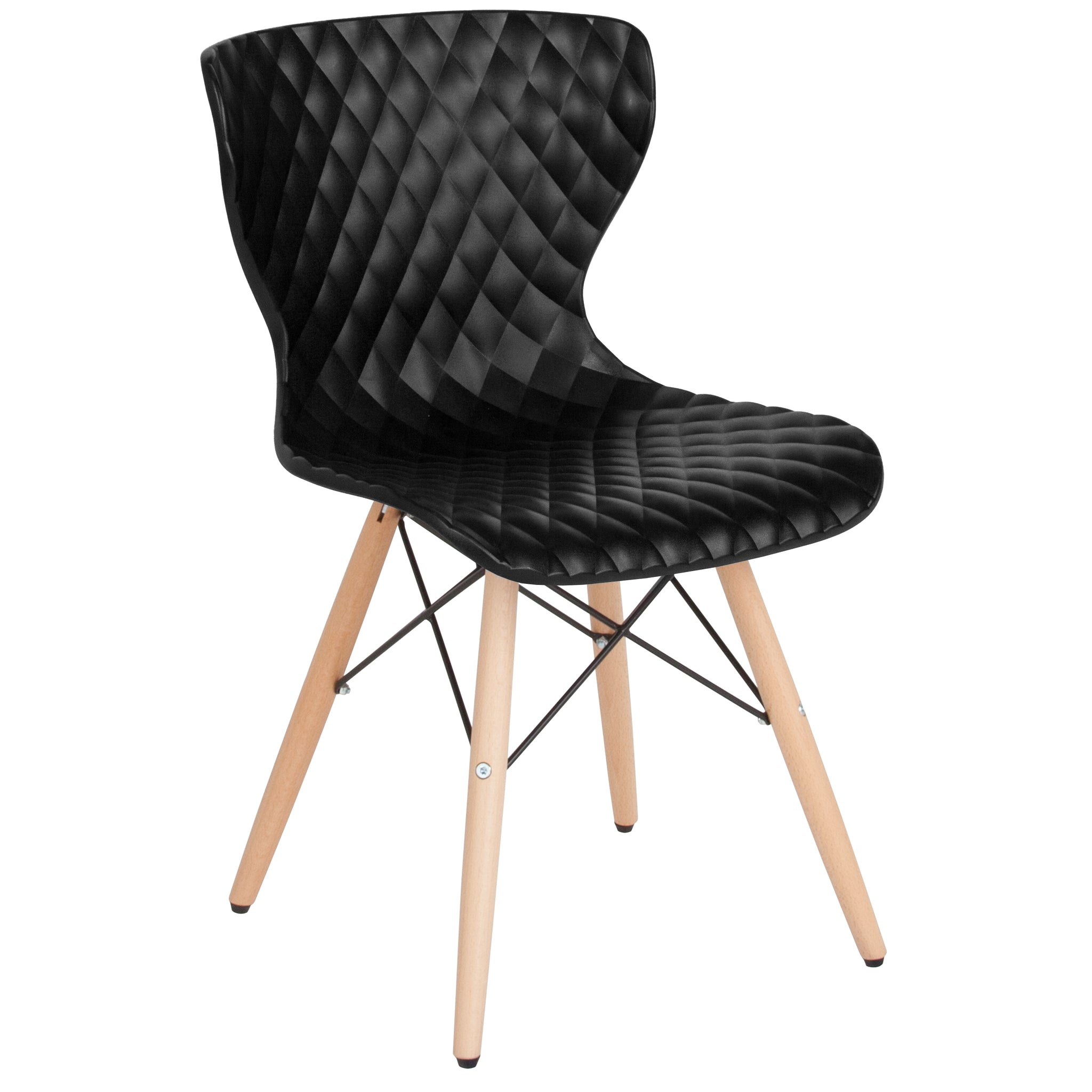 Bedford Contemporary Design Plastic Chair with Wooden Legs: Gray