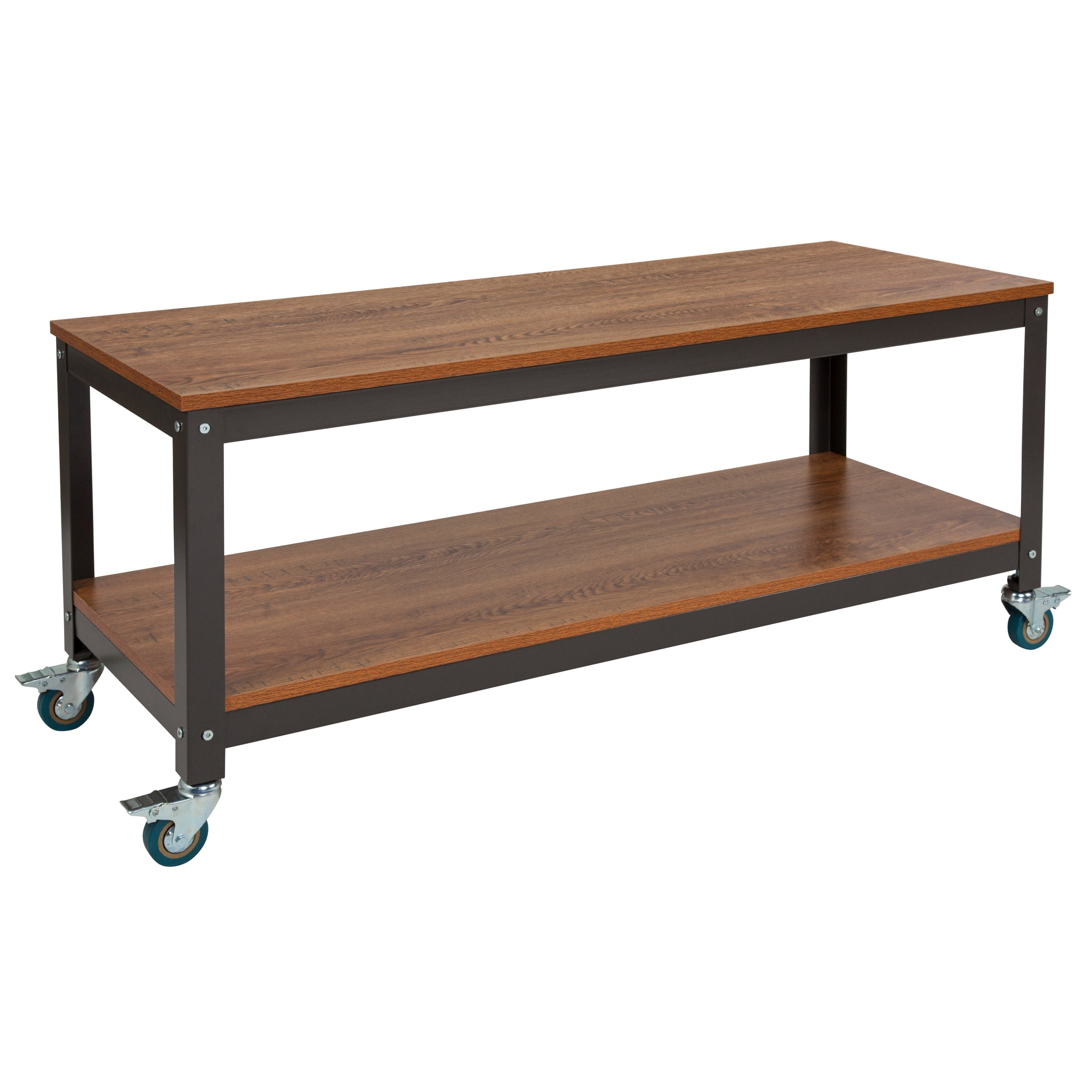 Livingston Collection TV Stand in Wood Grain Finish with Metal Wheels: Brown Oak
