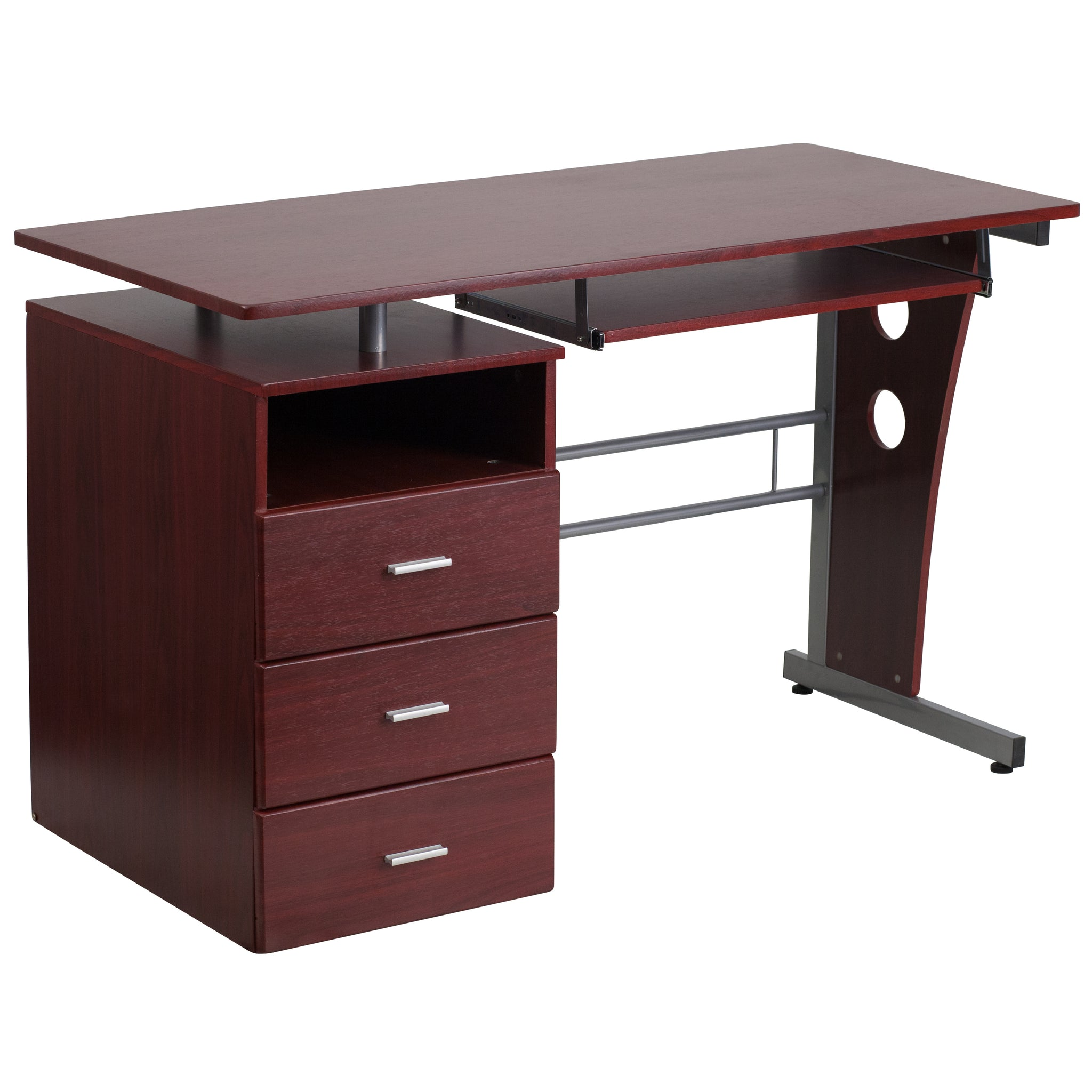 Desk with Three Drawer Pedestal and Pull-Out Keyboard Tray: Mahogany Laminate Top/Silver Frame