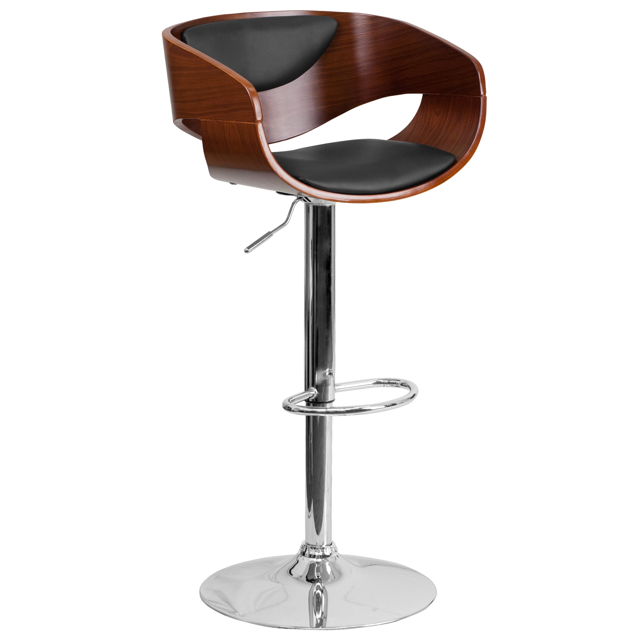 Bentwood Adjustable Height Barstool with Vinyl Upholstery: Walnut