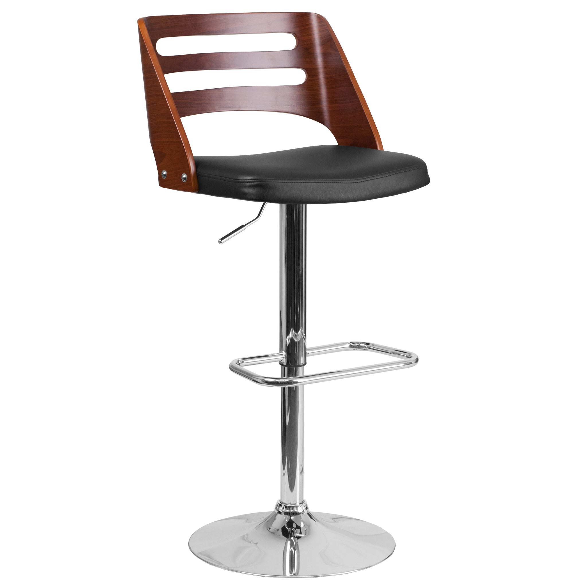 Bentwood Adjustable Height Barstool with Vinyl Seat and Cutout Back: Walnut