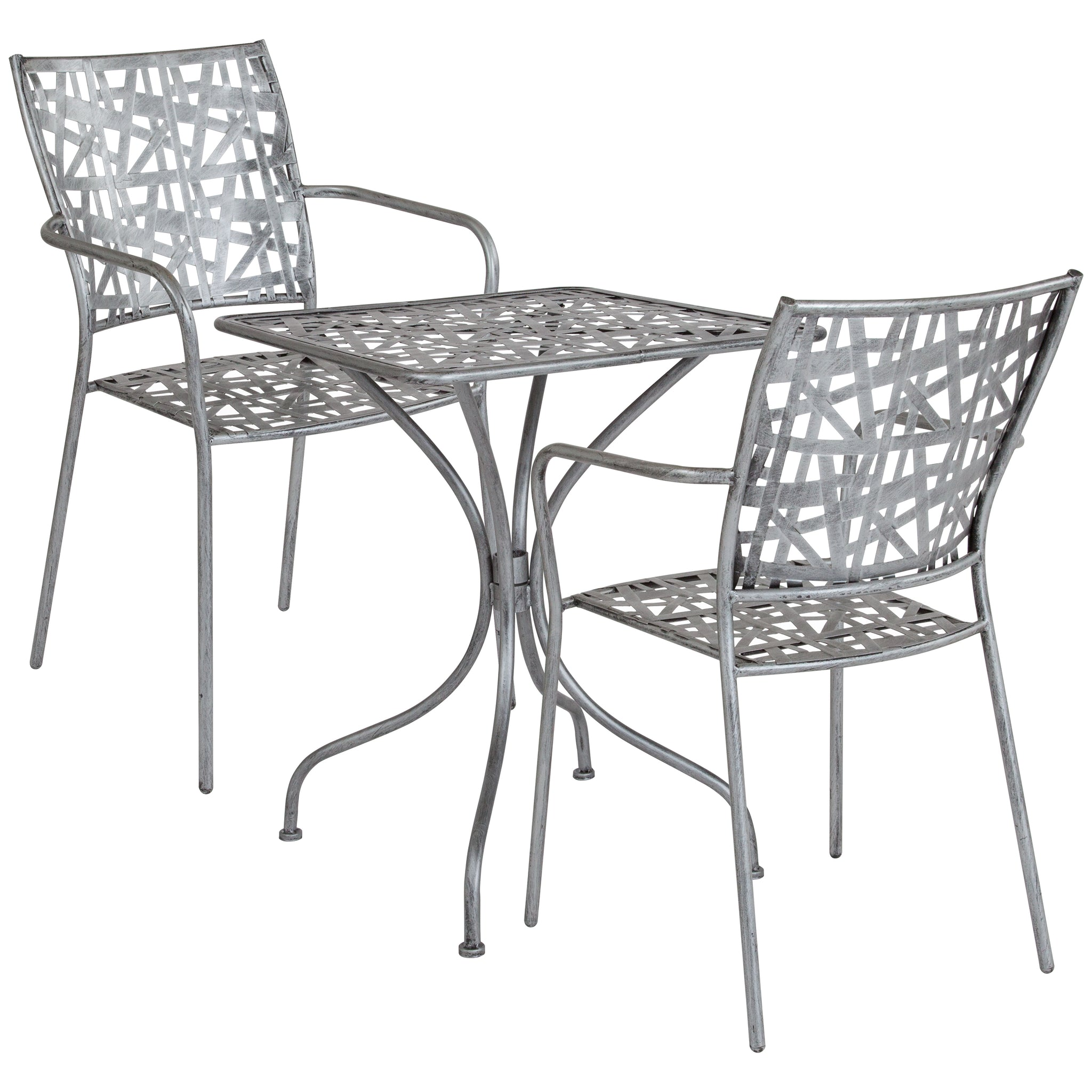 "Agostina Series 23.5"""" Square Indoor-Outdoor Steel Patio Table with 2 Stack Chairs"