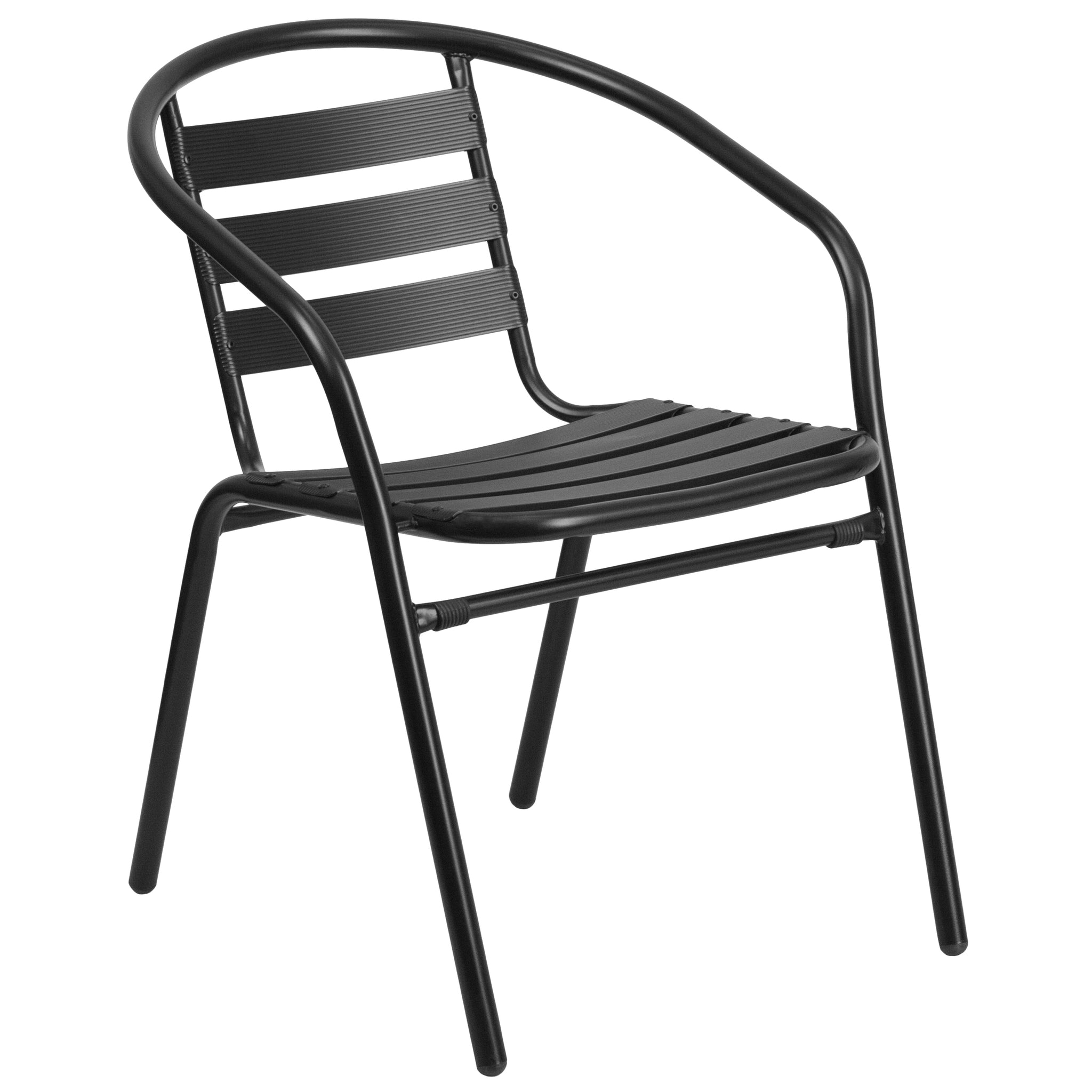 Metal Restaurant Stack Chair with Aluminum Slats: Black