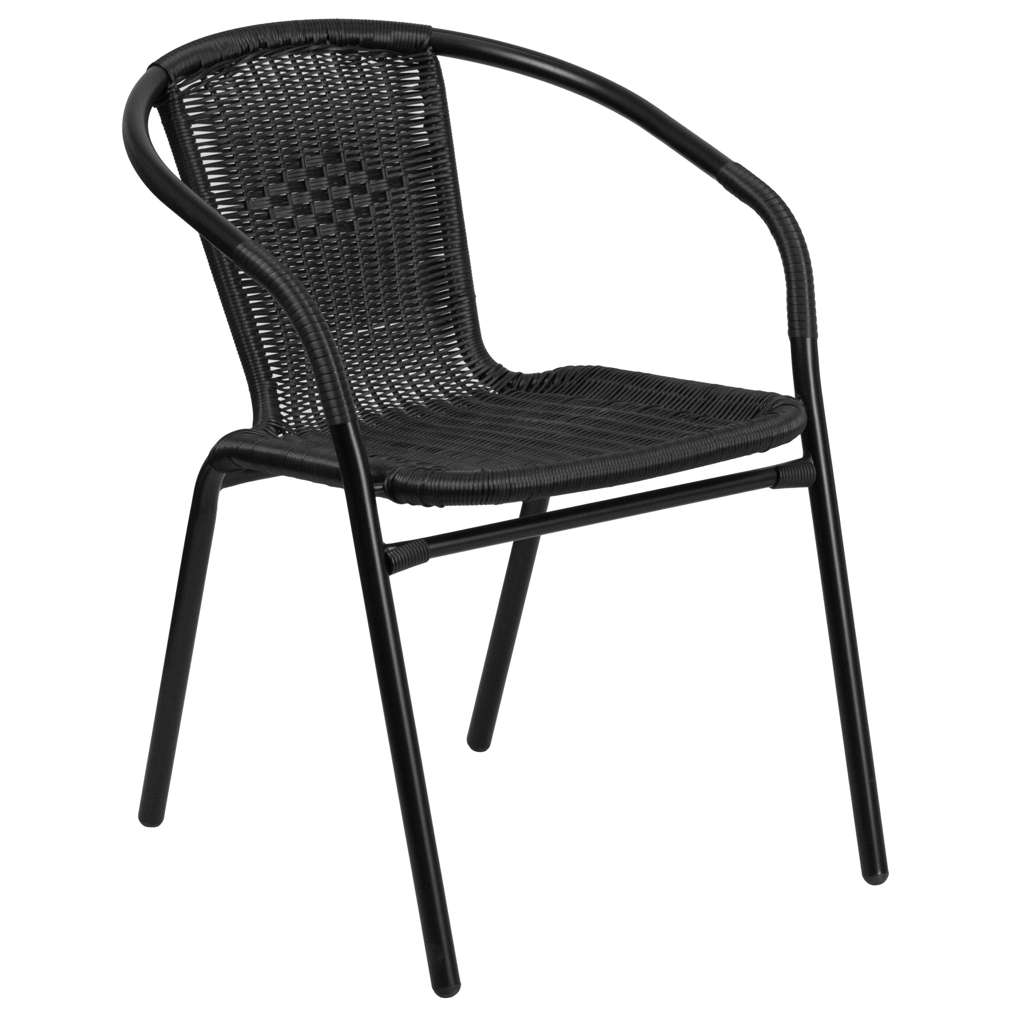 Rattan Indoor-Outdoor Restaurant Stack Chair: Black