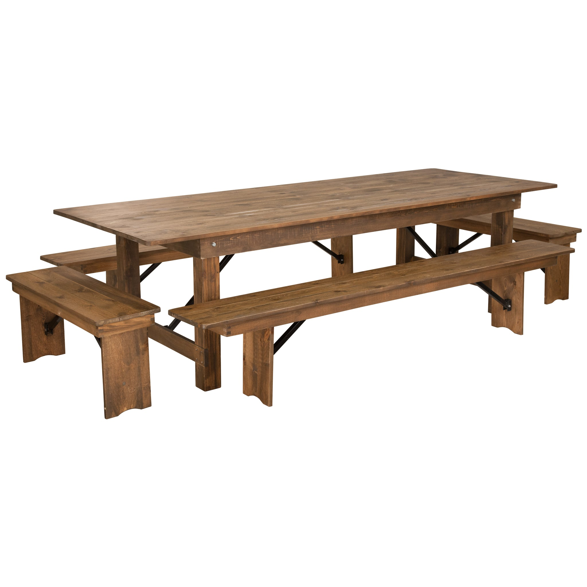 "HERCULES Series 9' x 40"""" Folding Farm Table and Four Bench Set: Antique Rustic"