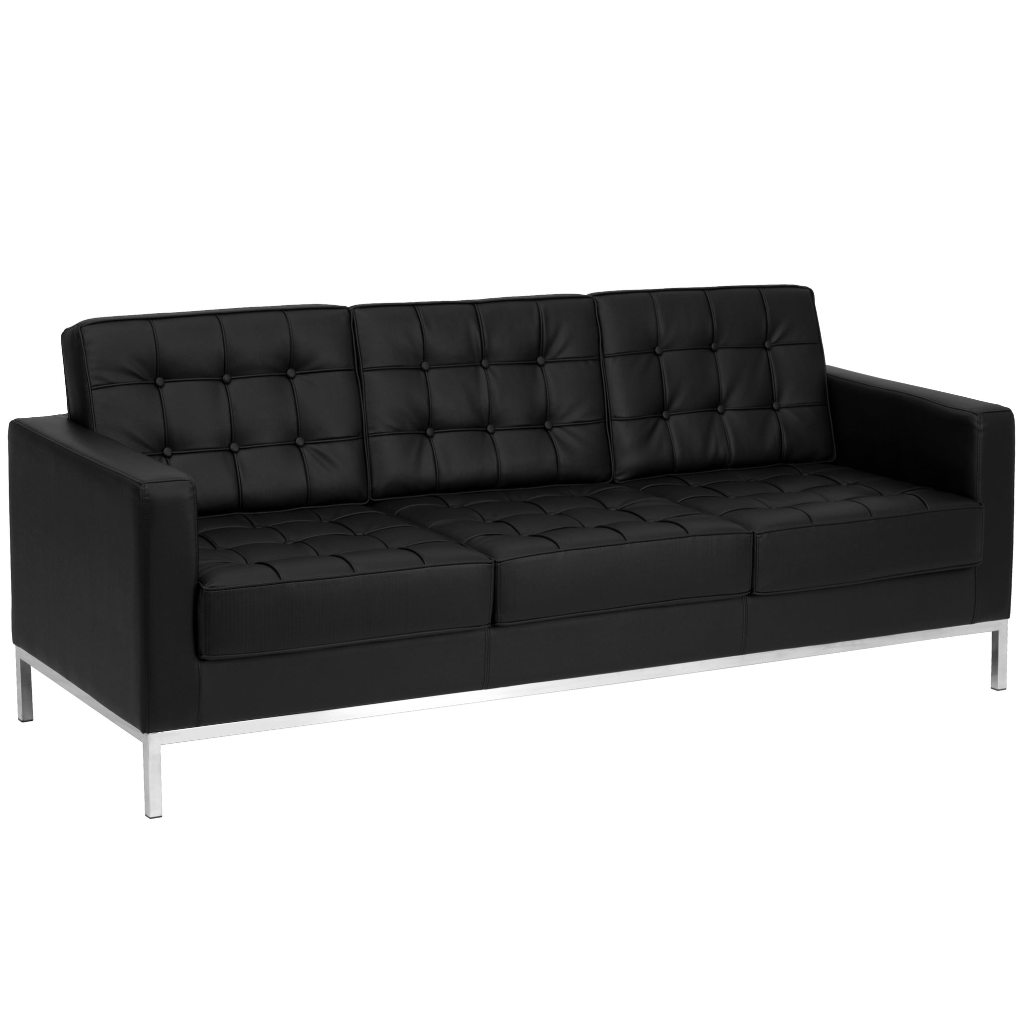 Incredible Hercules Lacey Series Contemporary Leather Sofa With Stainless Steel Frame Black Gmtry Best Dining Table And Chair Ideas Images Gmtryco