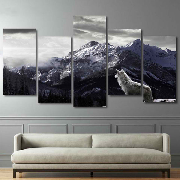5 Piece HD Prints Canvas Wall Art Prints Snowy Mountain Plateau Wolf