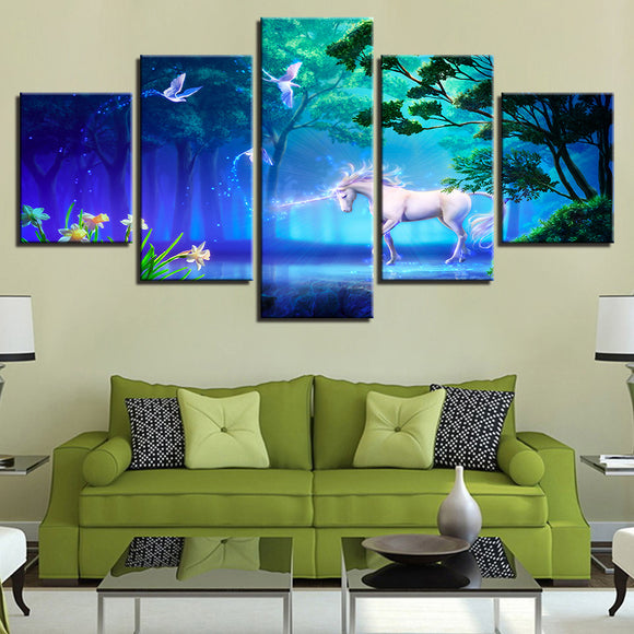 wall-art-printed-canvas-decoration 5 panel - Unicorn 2