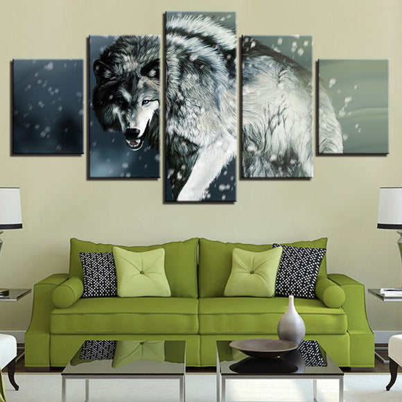 wall-art-printed-canvas-decoration 5 panel - Wolf 2