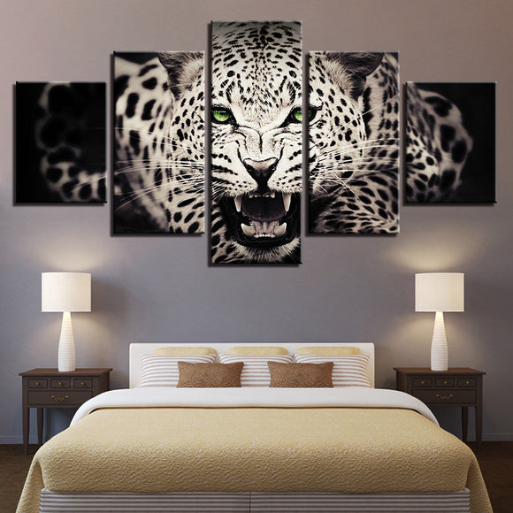 wall-art-printed-canvas-decoration 5 panel -Leopard 1