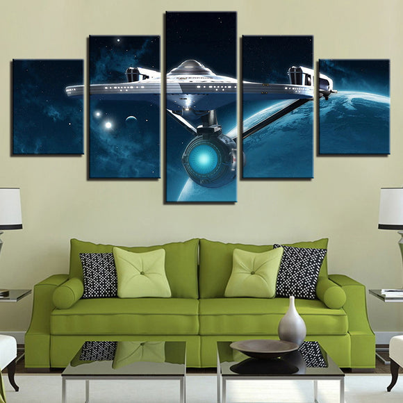 wall-art-printed-canvas-decoration 5 Panel - Star Trek Enterprise
