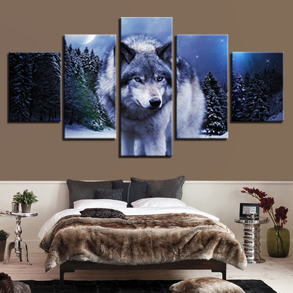 wall-art-printed-canvas-decoration 5 panel - Wolf 1
