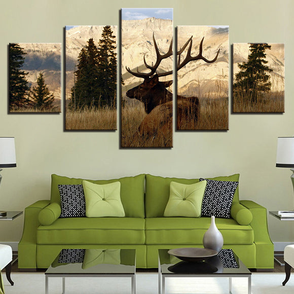 wall-art-printed-canvas-decoration 5 Panel - Deer - Buck