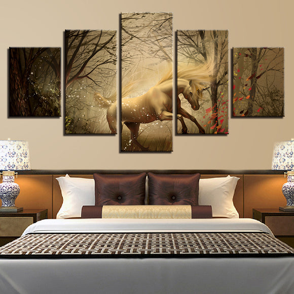 wall-art-printed-canvas-decoration 5 panel - Unicorn 1