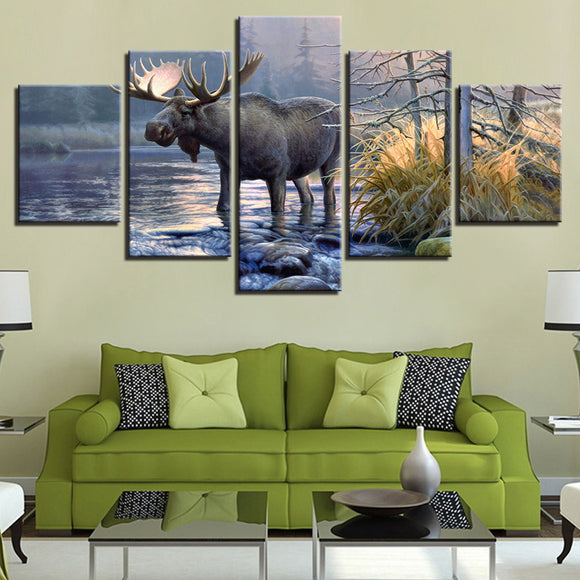 wall-art-printed-canvas-decoration 5 Panel - Moose