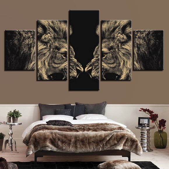 wall-art-printed-canvas-decoration 5 panel -2 lions