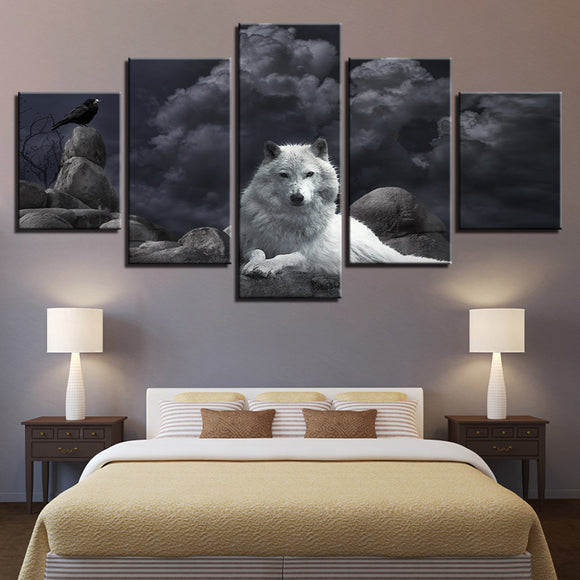 wall-art-printed-canvas-decoration 5 panel - Wolf 4
