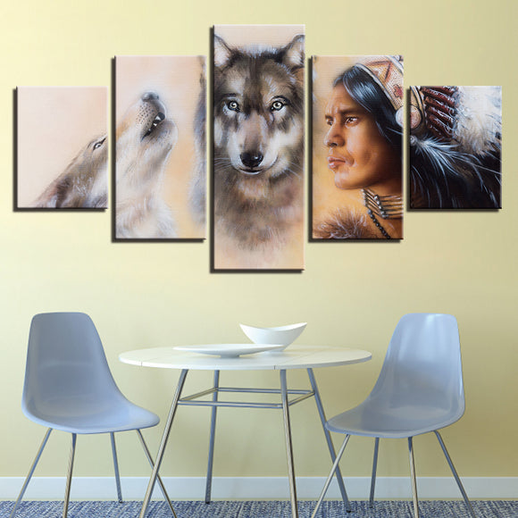 wall-art-printed-canvas-decoration 5 Panel - Wolf and American Indian