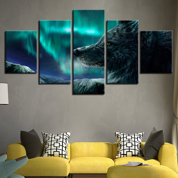 wall-art-printed-canvas-decoration 5 Panel - Wolf and Aurora