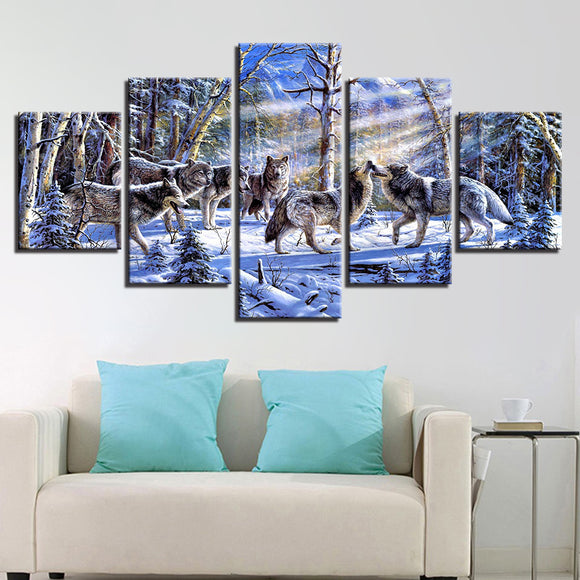 wall-art-printed-canvas-decoration 5 panel - Wolf Pack