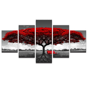 "5 Pieces Modular Canvas HD Prints Posters Home Decor ""Red Tree Art Scenery"""