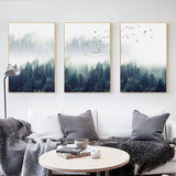 "Nordic ""Forest Landscape"" Wall Art Canvas Poster and Print Home Decor"