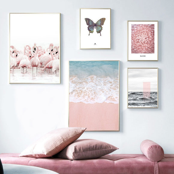 Flamingo, Butterfly, Flower, Beach, Seascape - Wall Art Canvas Posters And Prints Room Decor