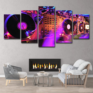 5 piece canvas -DJ Night club mural print/ poster bar or home decor