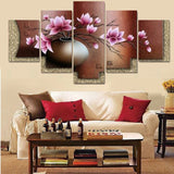 5 Panel Canvas Wall Art Home Decor - Vintage Flower