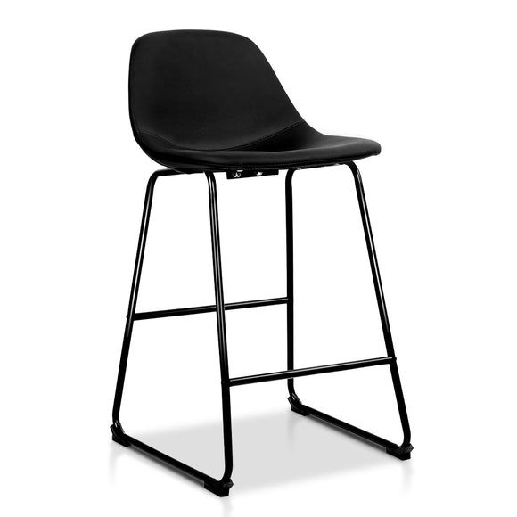Artiss Set of 2 PU Leather Crosby Bar Stools - Black