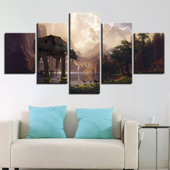 wall-art-printed-canvas-decoration 5 Panel - Star Wars AT-AT