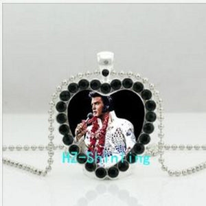 Elvis Presley Crystal Necklace Heart Pendant Jewellery  Glass cabochon