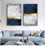 wall-art-printed-canvas-decoration 2 Panel LAYERED NAVY GOLD