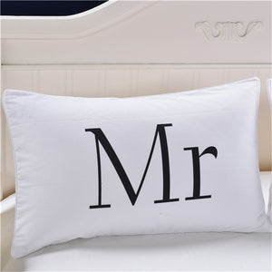 MR MRS Decorative White Pillowcases- Couple Gift One Pair