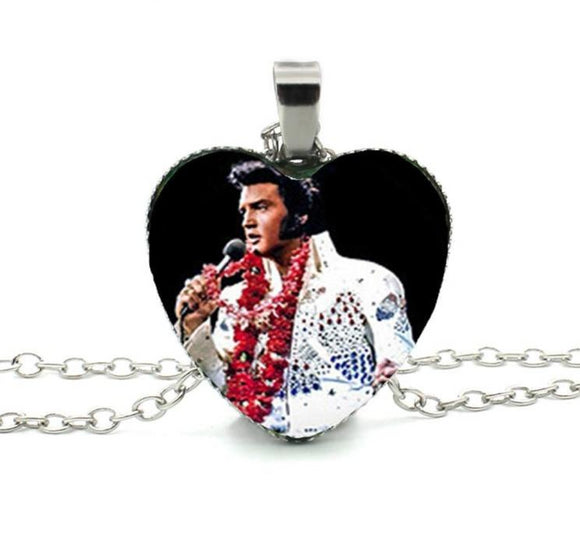 Elvis Presley Heart Necklace Glass Cabochon Heart shape