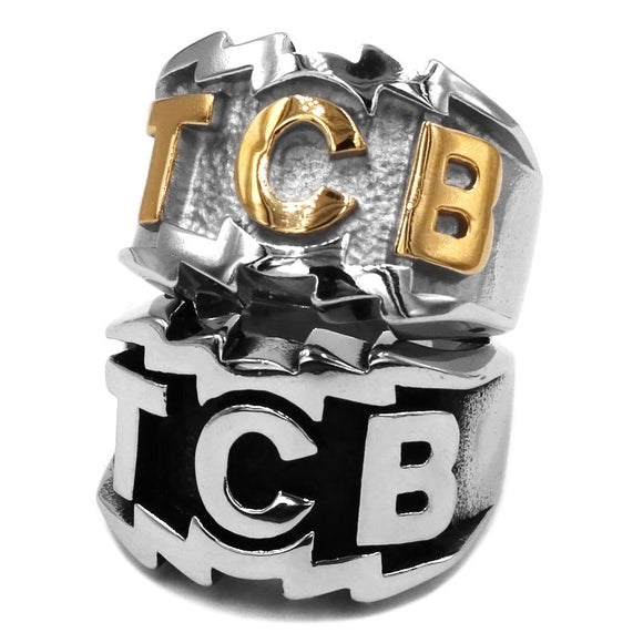 TCB Elvis Presley Men's Ring 316L Stainless Steel Jewellery Punk Silver Gold