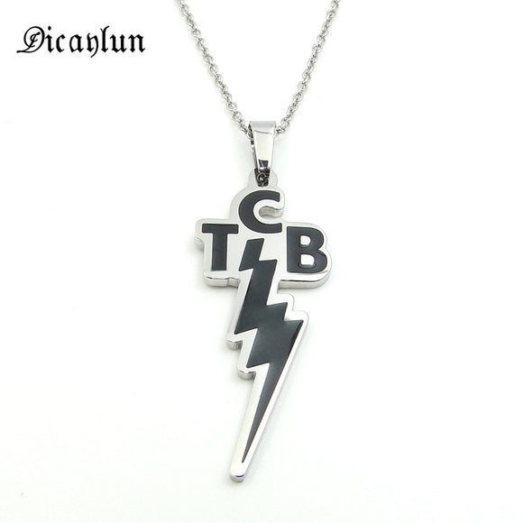 Elvis Memorial Pendant Necklace Lightning Letters TCB (Taking Care Of Business)