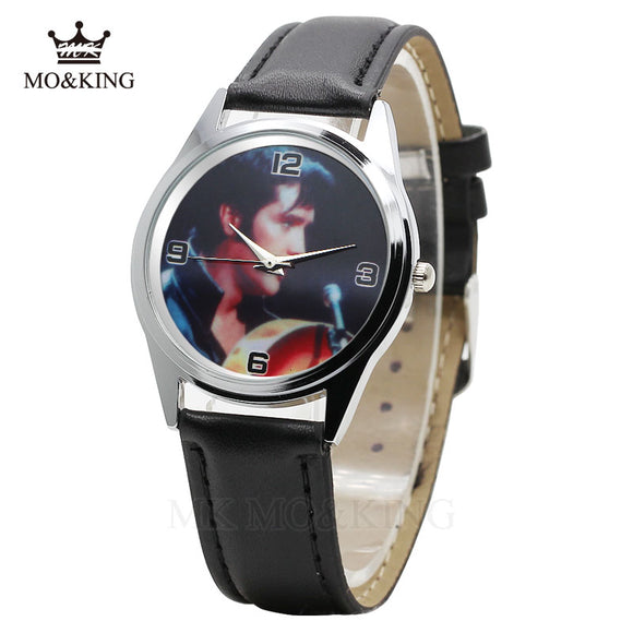 Elvis Presley Fashion Wrist Watch suit male/female Black Leather Band