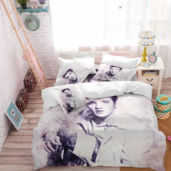 Elvis Presley Print Duvet Cover Set King Queen Bedding Pillowcase The King Fans Bedroom Decor D40