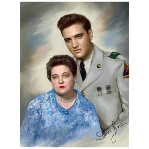 "5D Diy Diamond Embroidery Full square\round Diamond ""Elvis Presley and Mother"""