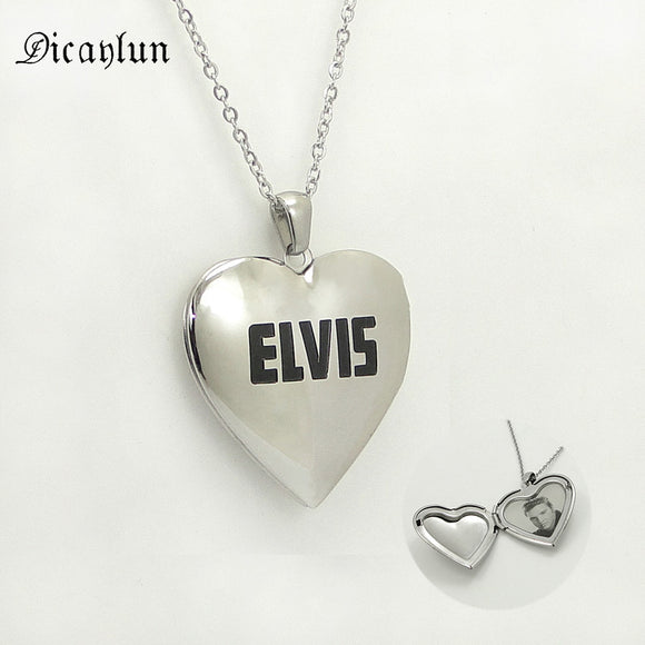 Stainless Steel Heart Shaped Necklace- Elvis -openable pendant Jewellery Accessories