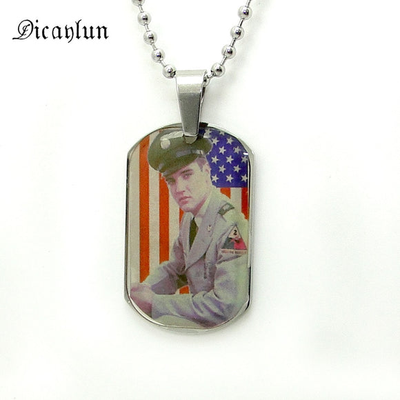 Elvis Presley Jewellery Gift Photo Necklace - Stainless Steel -Memorial USA Flag