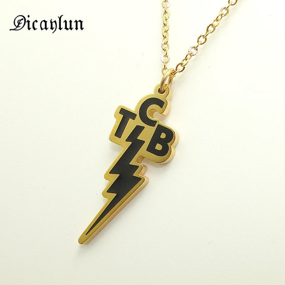 Elvis Presley Jewellery Necklace Gold coloured TCB Lightning Pendant