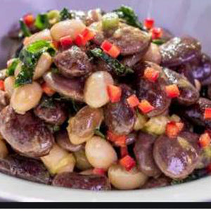 Maitake Mushrooms on beans
