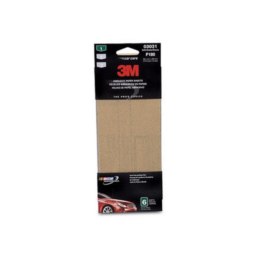 3M 03031 Sandpaper, 3-2/3 in x 9 in, 180 Grit
